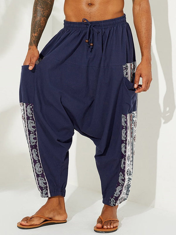 Geometric Print Baggy Pants Mid Waist Lace-Up Casual Pants