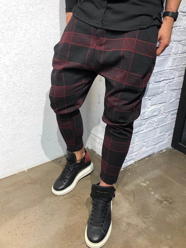 Pencil Pants Print Plaid Mid Waist Four Seasons Casual Pants