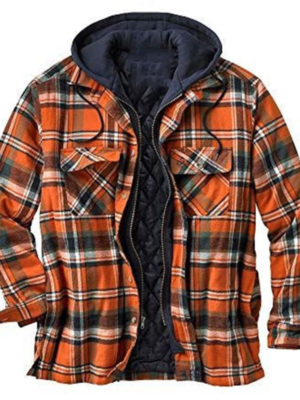 Hooded Plaid Zipper Single-Breasted Loose Jacket