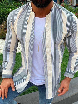 Round Neck Print Casual Single-Breasted Spring Shirt