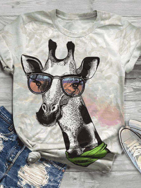 Animal Short Sleeve Standard Straight Casual T-Shirt
