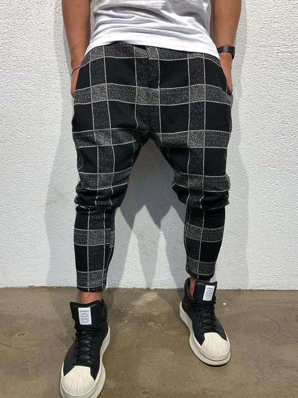 Plaid Pencil Pants Print Casual Mid Waist Casual Pants