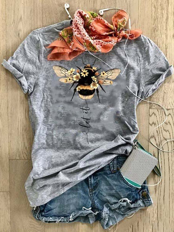 Short Sleeve Standard Animal Loose Casual T-Shirt