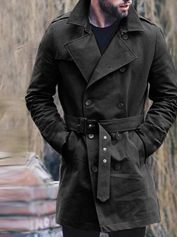 Mid-Length Plain Lapel Spring Slim Trench Coat