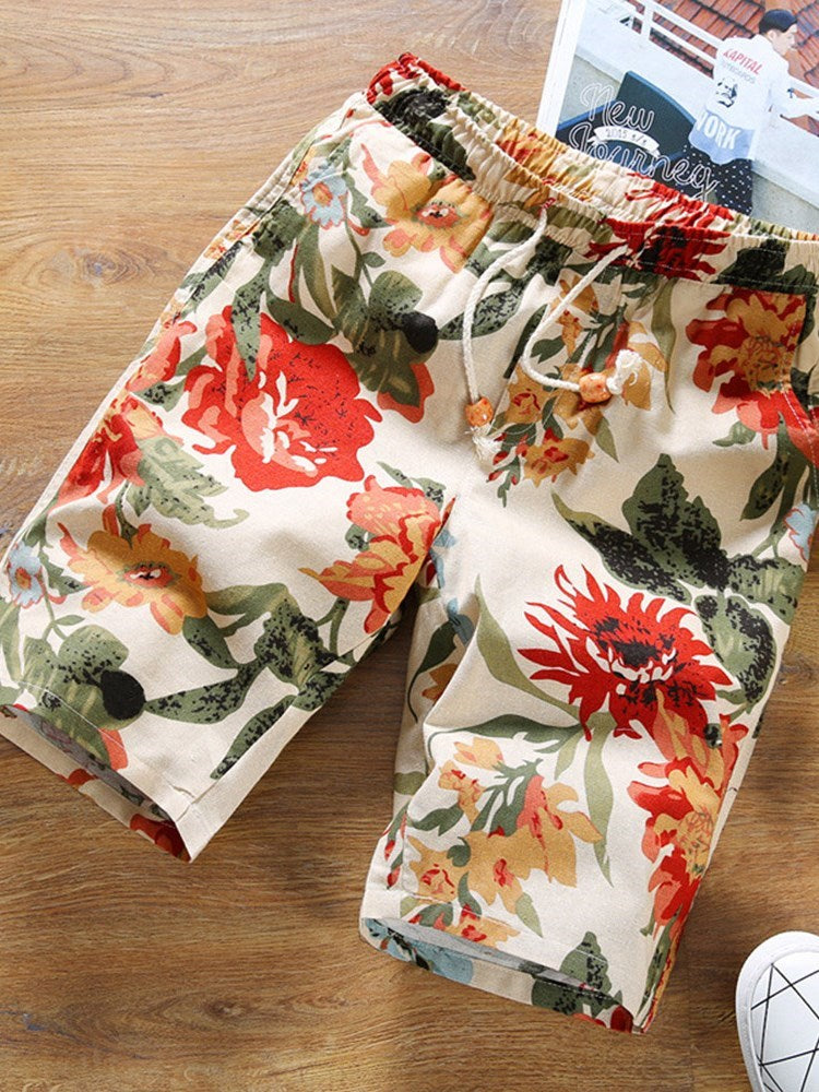 Print Straight Plant Lace-Up Casual Shorts