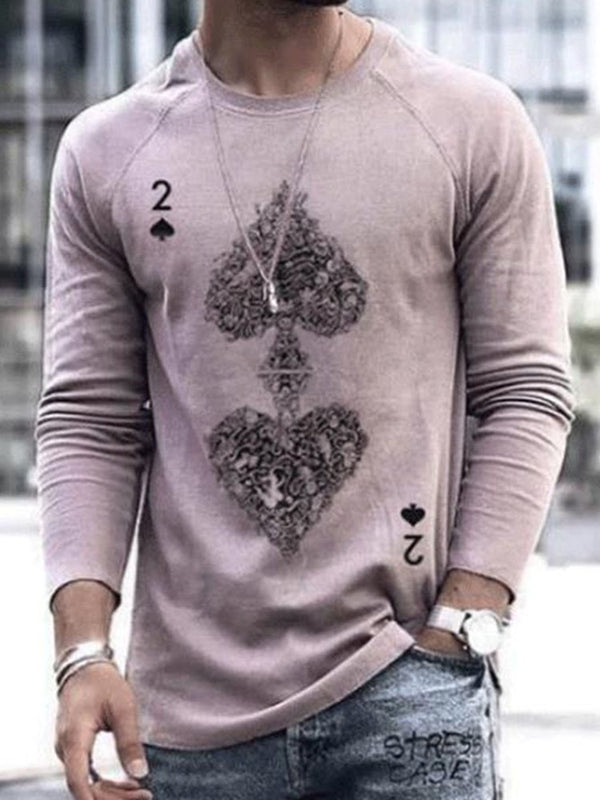 Cartoon Round Neck Print Long Sleeve Pullover T-shirt