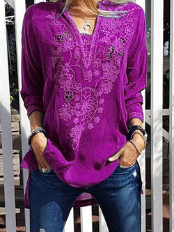 Mid-Length Three-Quarter Sleeve Floral Loose Casual T-Shirt
