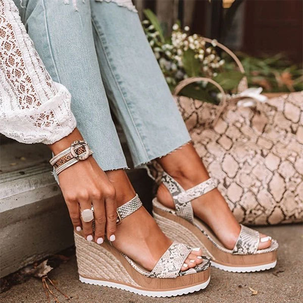 Buckle Wedge Heel Open Toe Platform Casual Sandals