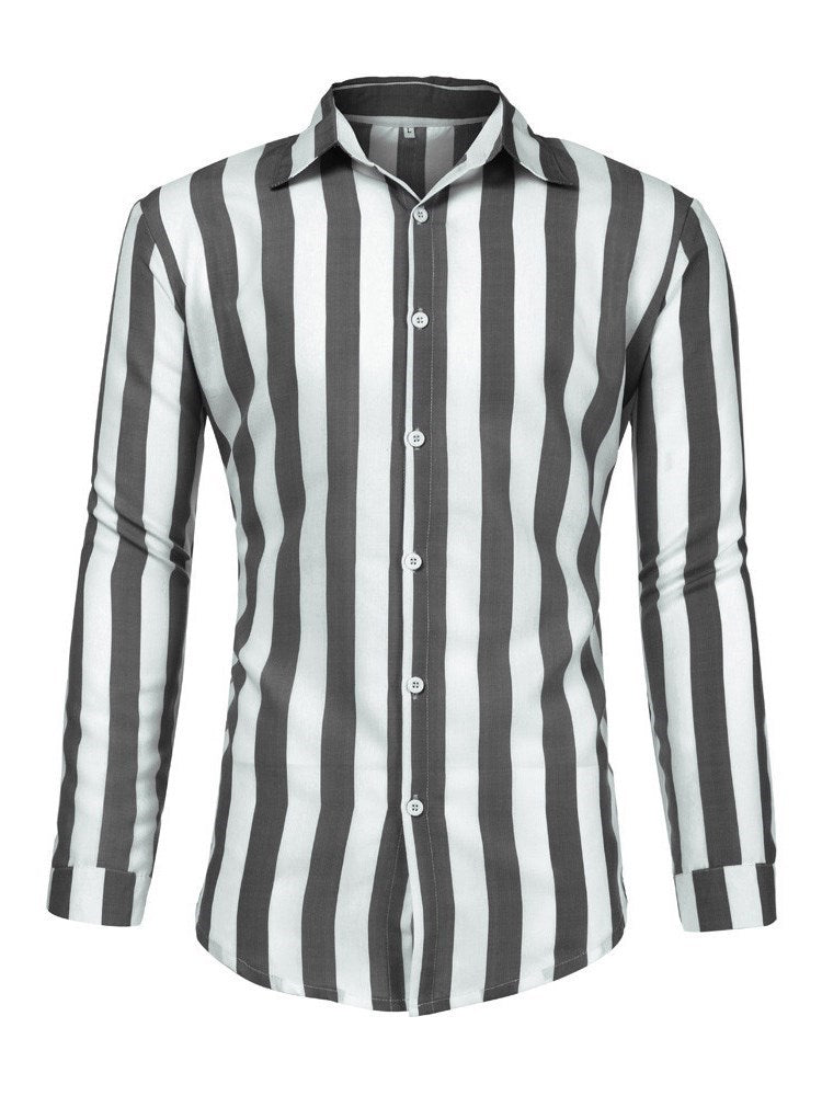Lapel Button Color Block Fall Single-Breasted Shirt