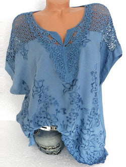 Lace V-Neck Mid-Length Short Sleeve Blouse