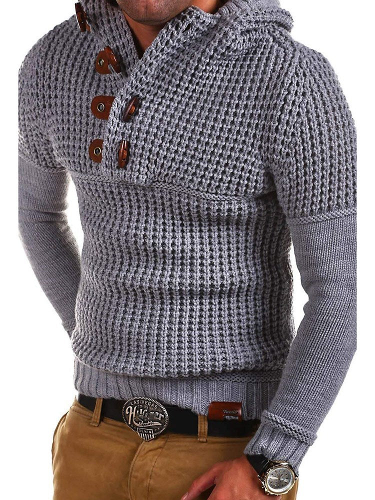 Hooded Standard Button Slim Spring Sweater