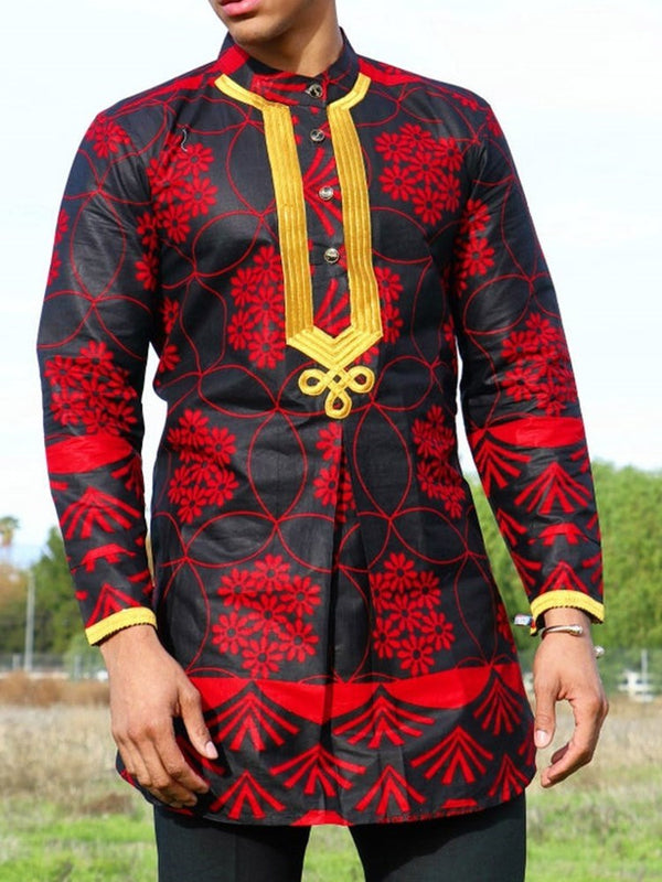 Ethnic Plant Straight Shirt
