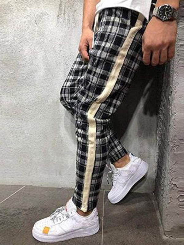 Print Pencil Pants Plaid Casual Lace-Up Casual Pants