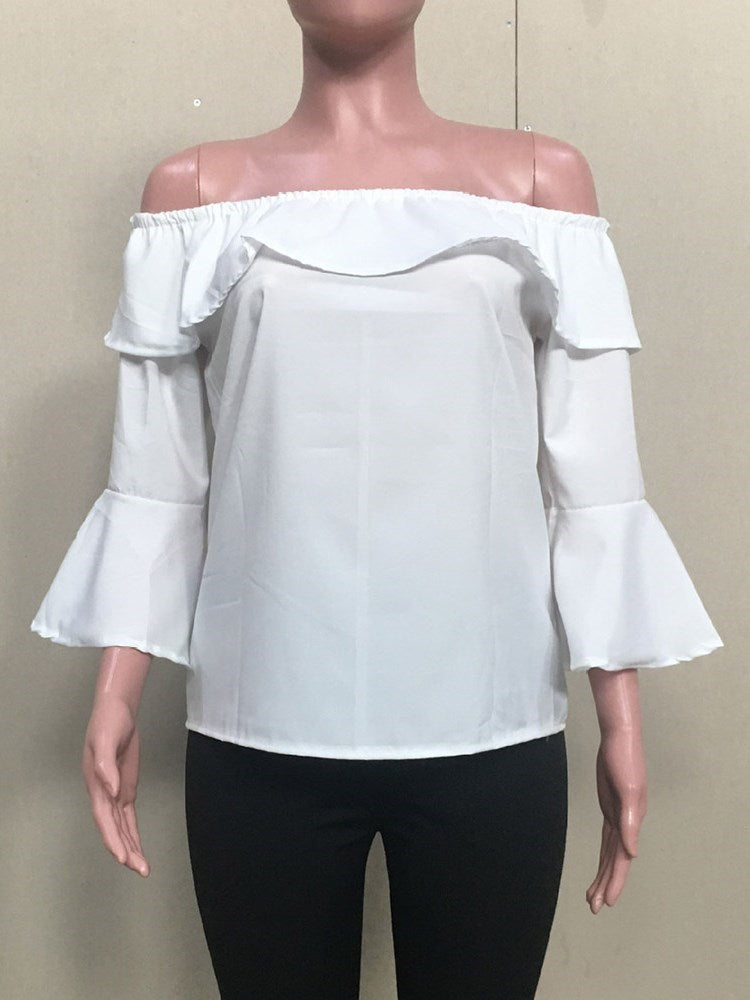 Plain Flare Sleeve Off Shoulder Standard Nine Points Sleeve Blouse
