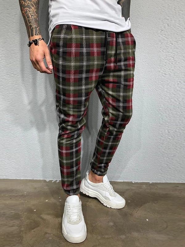 Plaid Pencil Pants Print Four Seasons Mid Waist Casual Pants