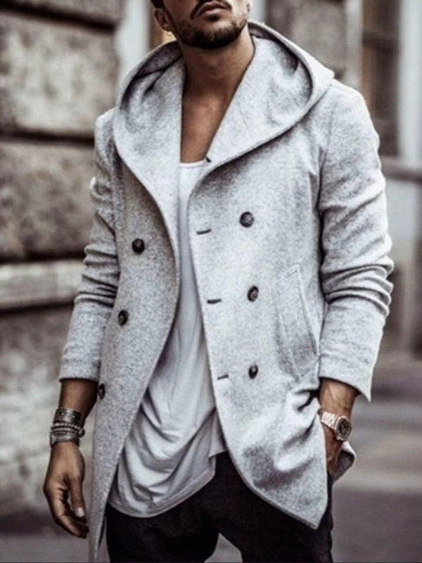 Plain Mid-Length Button OL Straight Coat