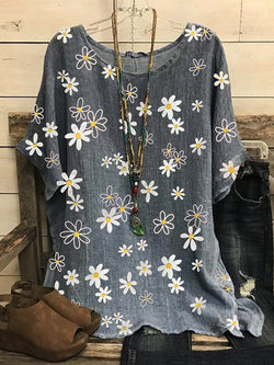Floral Half Sleeve Round Neck Loose Casual T-Shirt