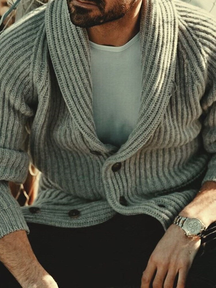 Button Standard Plain Single-Breasted Winter Sweater