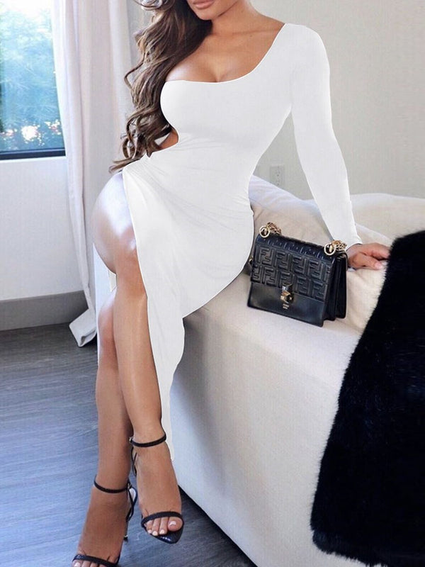 Hollow Long Sleeve Mid-Calf One-Shoulder Party/Cocktail Dress