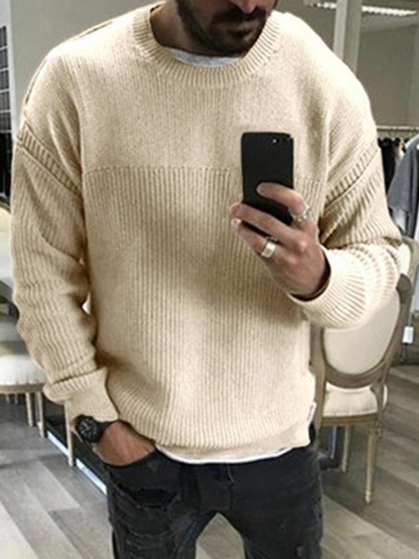 Standard Round Neck Plain Loose Casual Sweater