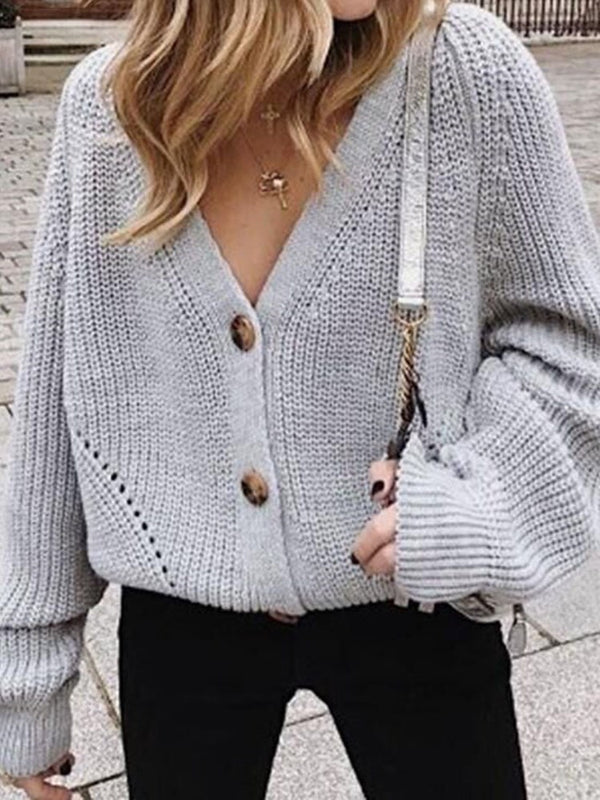Button Single-Breasted Regular Loose Long Sleeve Sweater