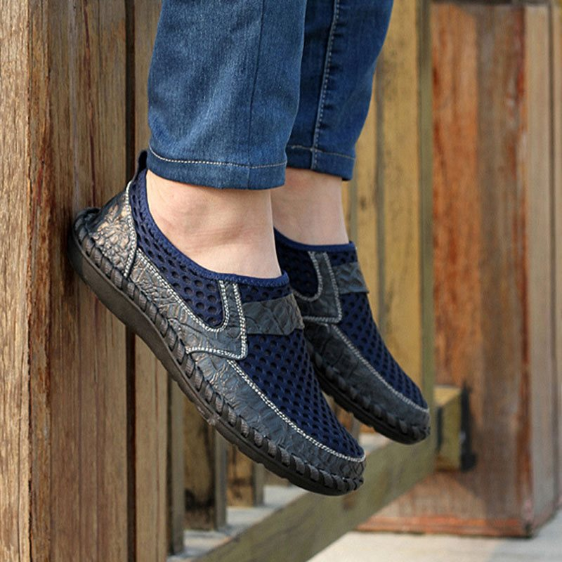 Patchwork Flat Heel Slip-On Low-Cut Upper Mesh Round Toe Thin Shoes