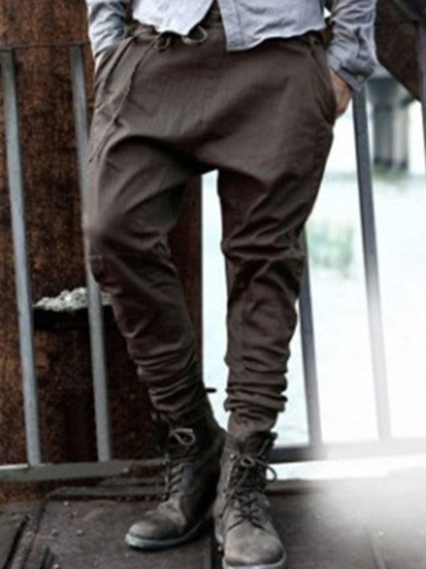 Lace-Up Baggy Pants Plain Lace-Up Mid Waist Casual Pants