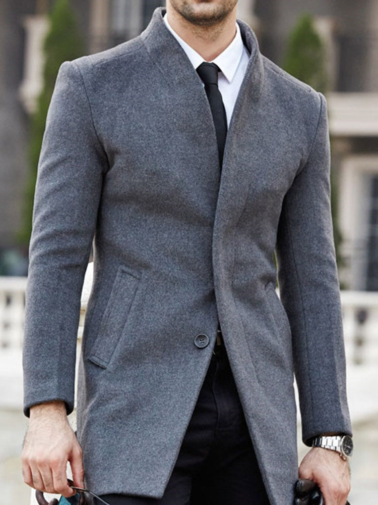 Standard Button Plain Single-Breasted Fashion Coat