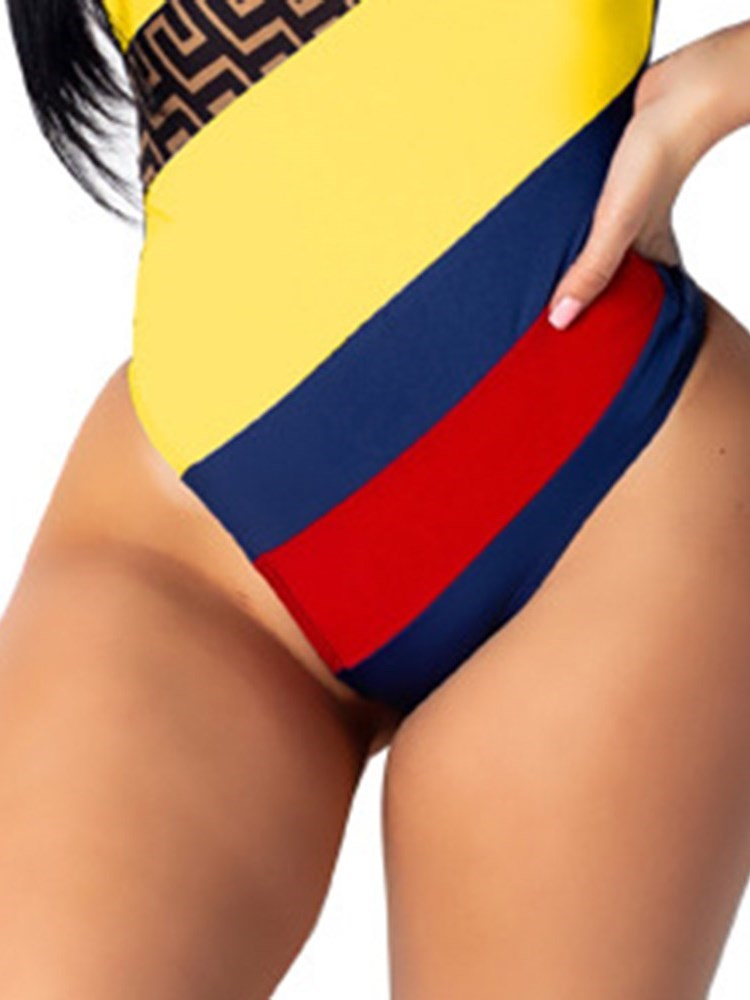 Sexy Patchwork Color Block Swimwear