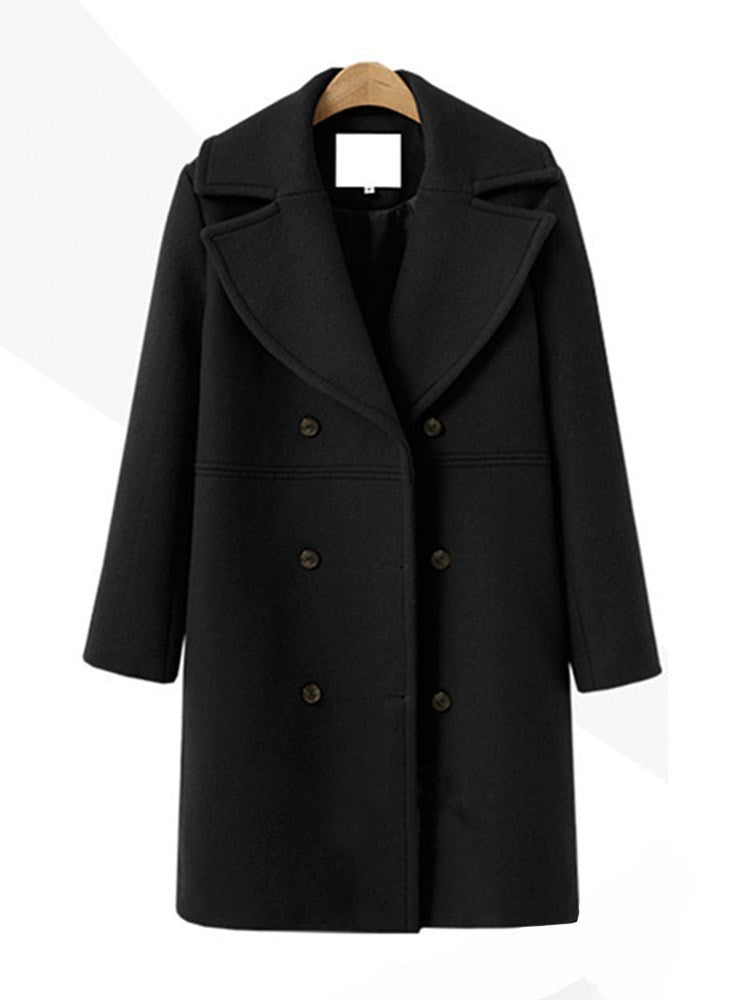Regular Double-Breasted Button Long Fall Overcoat