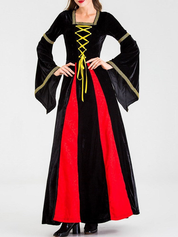 Long Sleeve Color Block Western Period Spring Costumes