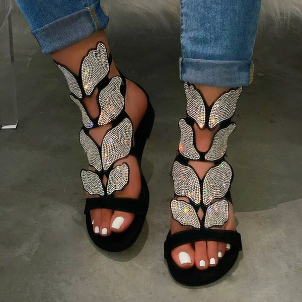 Open Toe Buckle Western Thread Sandals