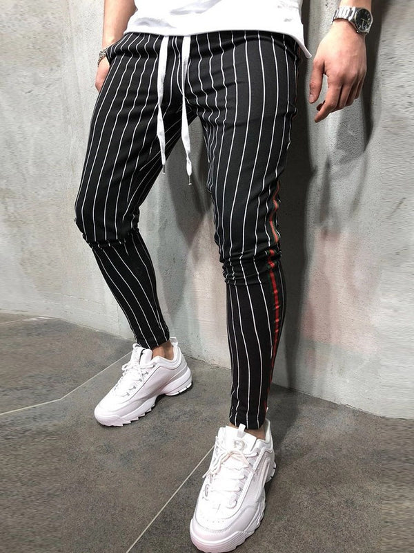Print Stripe Pencil Pants Mid Waist Casual Casual Pants