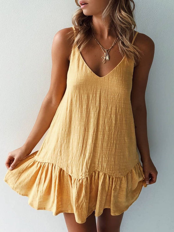 Backless Above Knee Sleeveless A-Line Spaghetti Strap Dress