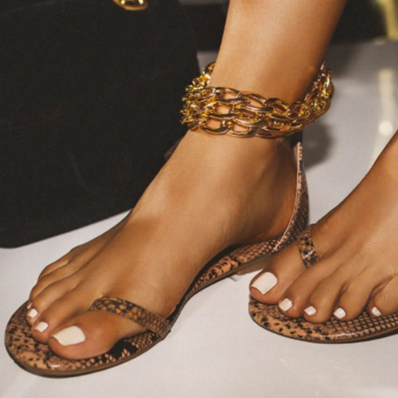 Flat With Toe Ring Zipper Serpentine Casual Sandals