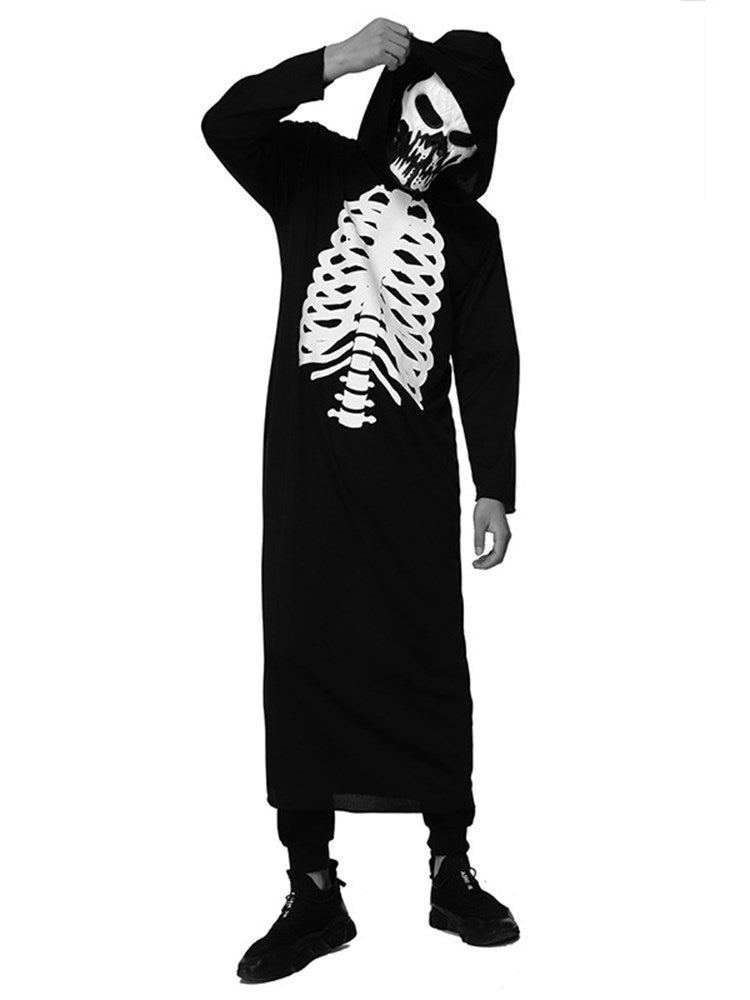 Print Classic Halloween Skull Long Sleeve Costumes