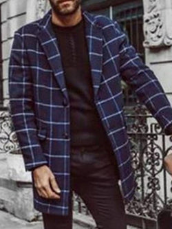 Mid-Length Notched Lapel Plaid Fall Straight Coat