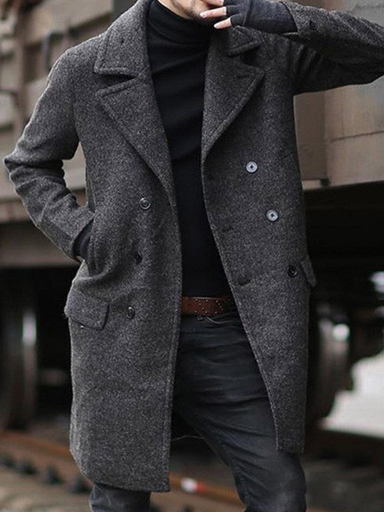 Plain Mid-Length Pocket Slim Double-Breasted Coat