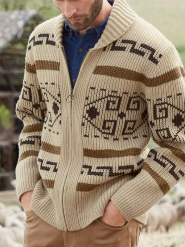 Geometric Standard Casual Zipper Sweater
