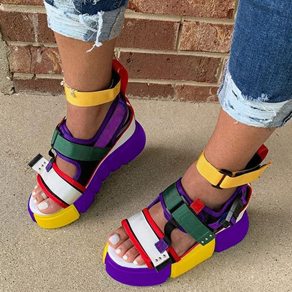 Platform Velcro Open Toe Platform Color Block Sandals