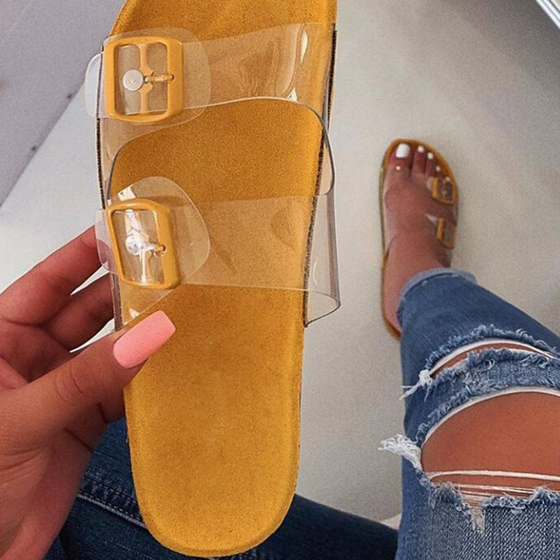See-Through Flip Flop Slip-On Flat With Beach PVC Slippers