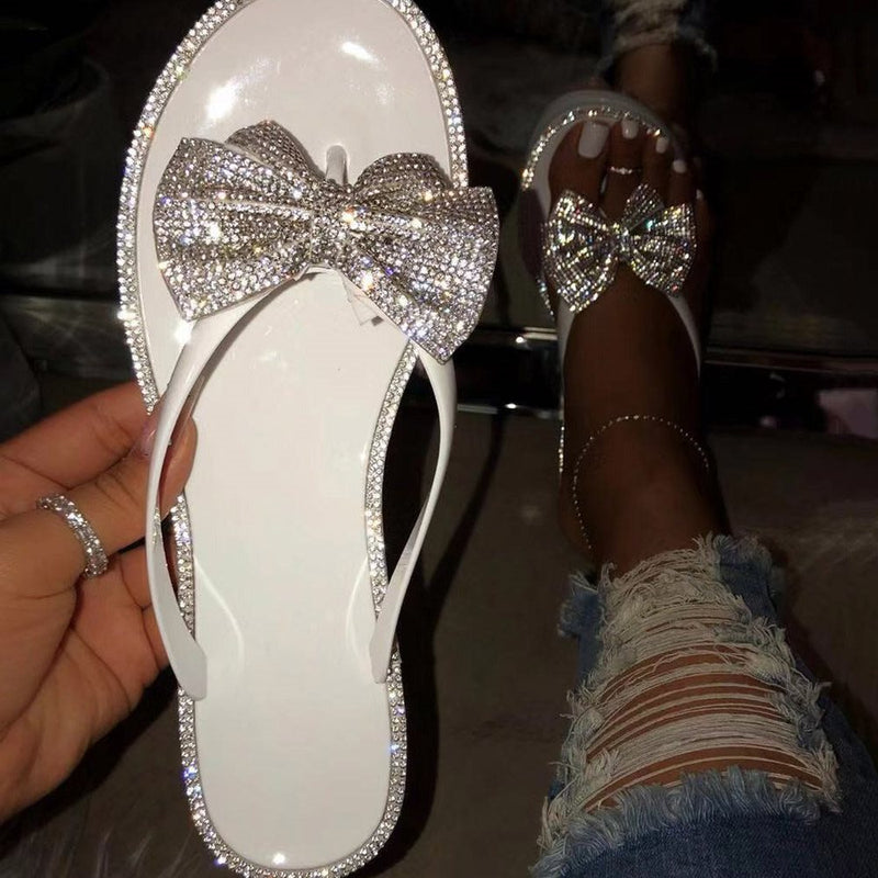 Slip-On Bow Thong Flat With PVC Slippers