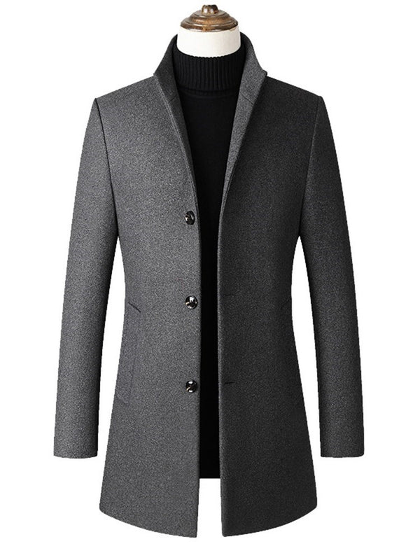 Plain Mid-Length Stand Collar Fall Single-Breasted Coat