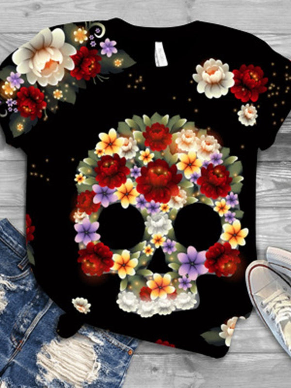 Round Neck Floral Short Sleeve Casual Summer T-Shirt