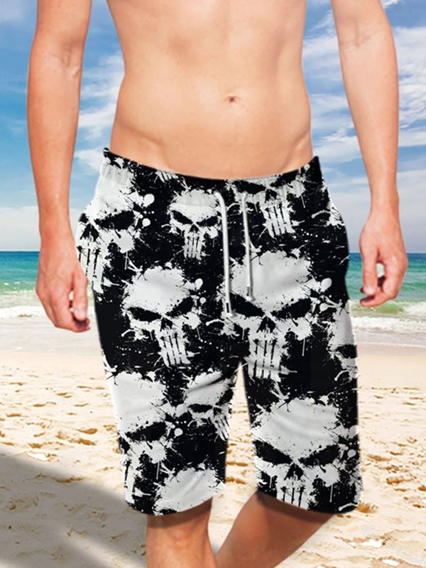 Skull Print Straight Mid Waist Summer Casual Pants