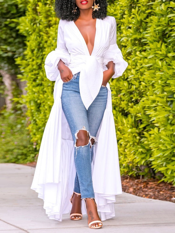 Plain V-Neck Asymmetric Long Sleeve Long Blouse