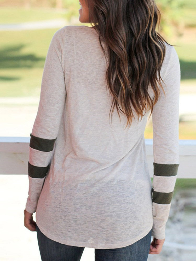 Round Neck Long Sleeve Mid-Length Spring Loose T-Shirt