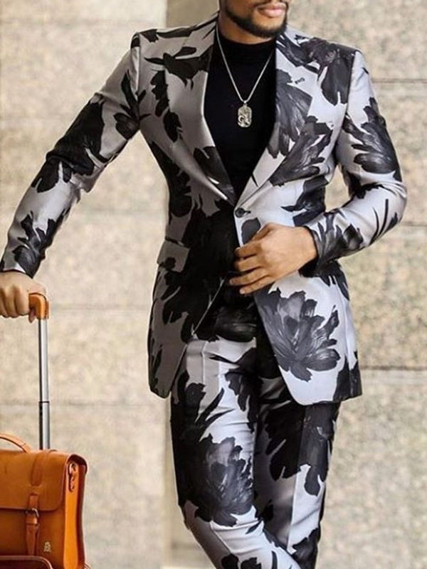 Fashion Notched Lapel Print leisure Suit