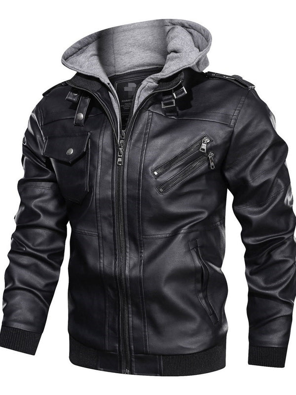 Standard Stand Collar Winter Slim Leather Jacket