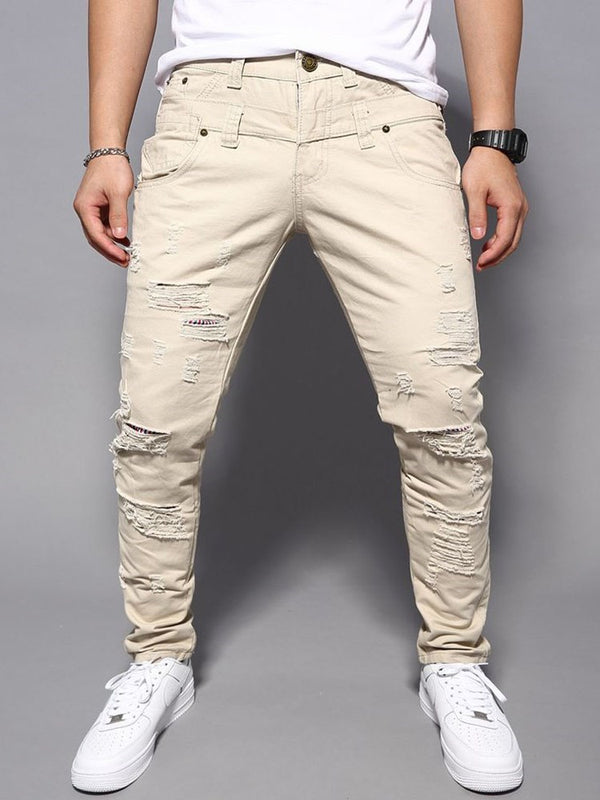 Plain Hole Straight Casual Mid Waist Jeans